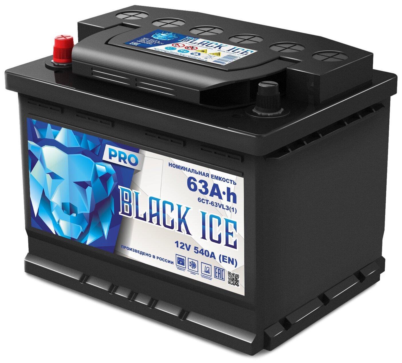 Аккумулятор BLACK ICE Pro 6СТ-63.1 (АКТЕХ)