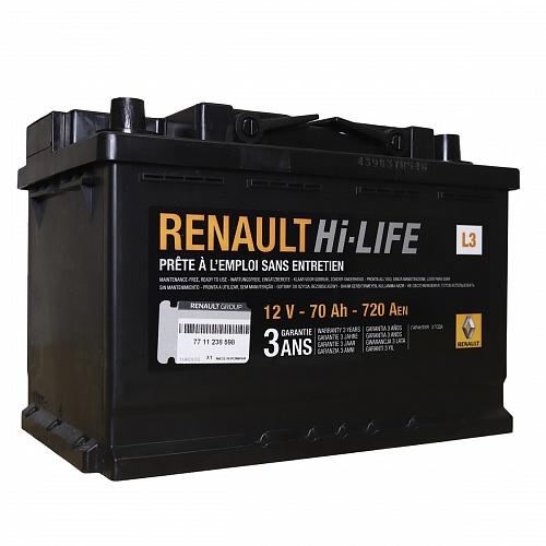 Аккумулятор автомобильный RENAULT 70Ач 7711 238 59 12В 70Ач 720A