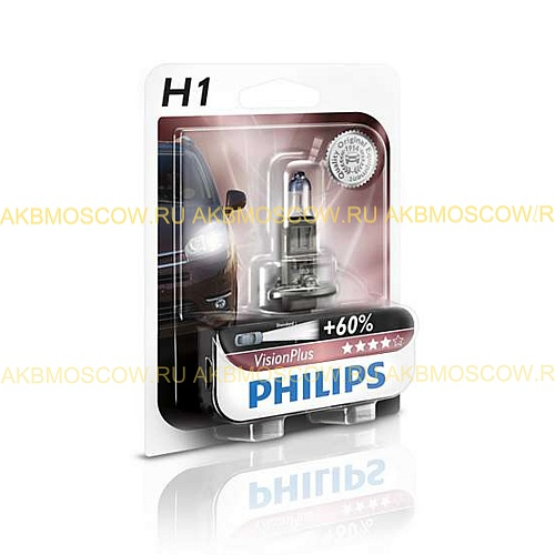 Лампа Philips 12V H1 55W +60% Vision Plus